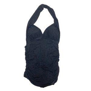 3/$25 One Piece Halter Top Black Bathing Suit